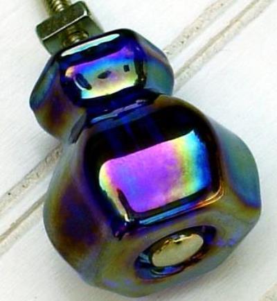 Set Of 6 Cobalt BLUE CARNIVAL GLASS Cabinet Knobs Drawer Pulls Vintage