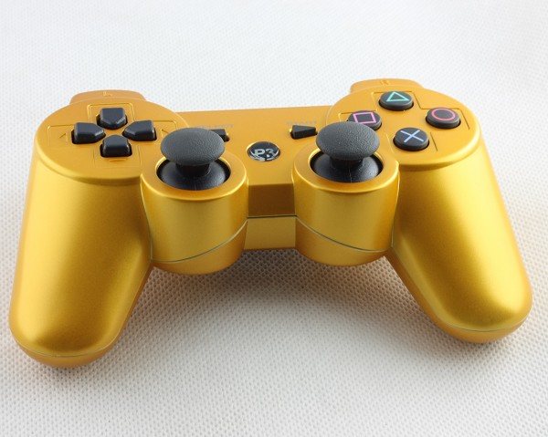 gold sixaxis dualshock wireless bluetooth controller for