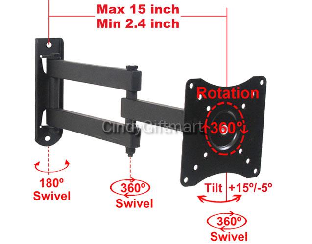 Full Motion Tilt Swivel Rotate Wall Mount for Samsung 19 22 24 26 LED LCD TV A63