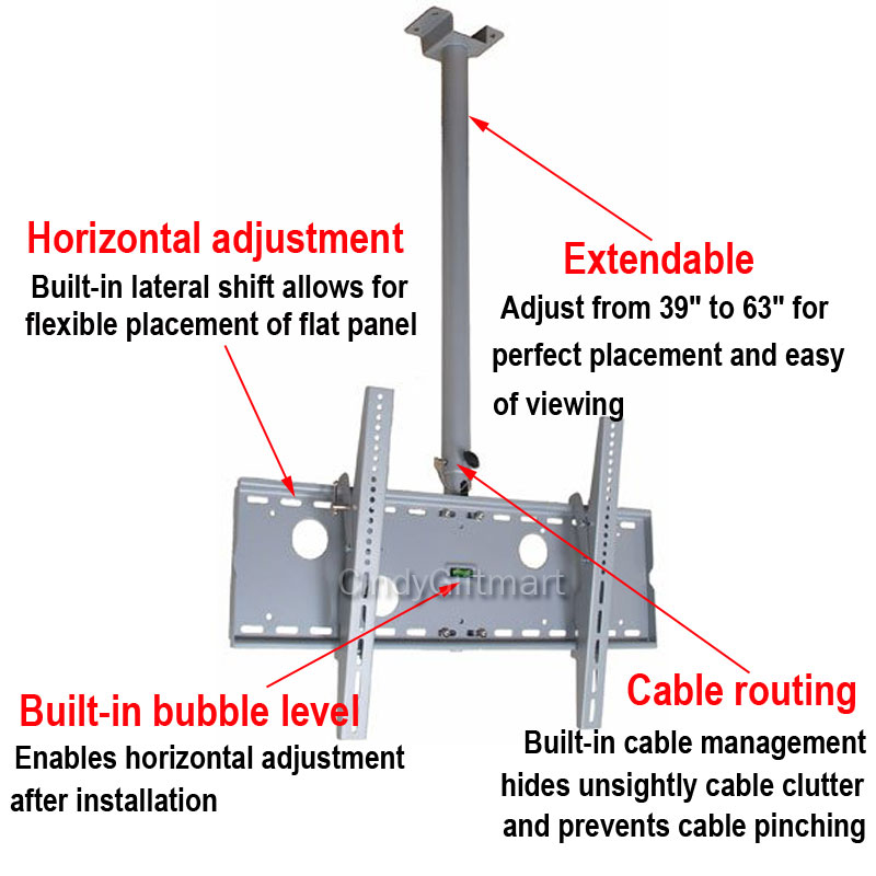 Flat Panel Plasma LCD LED Tilting TV Ceiling MOUNT32 37 42 46 52 55 57 60 65 1XC