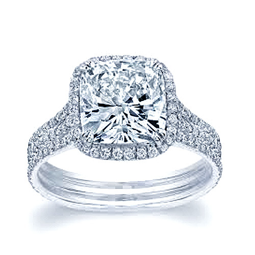 1 75 CT CUSHION CUT TRIPLE BAND REAL DIAMOND ENGAGEMENT RING GAL CERTIFIED