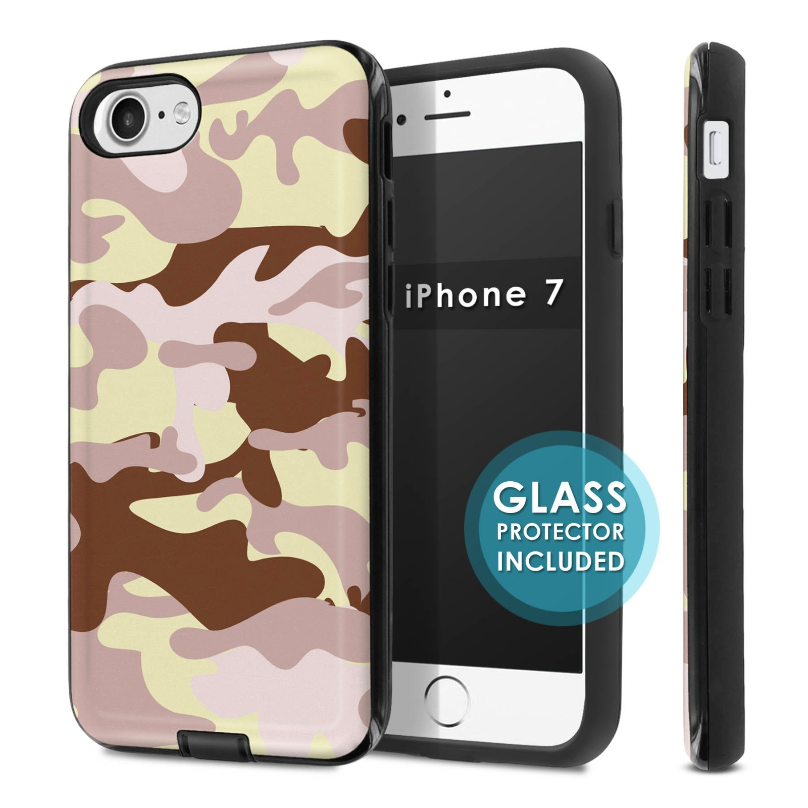 Iphone 7 dual armor shockproof case tempered glass for Window protector designs