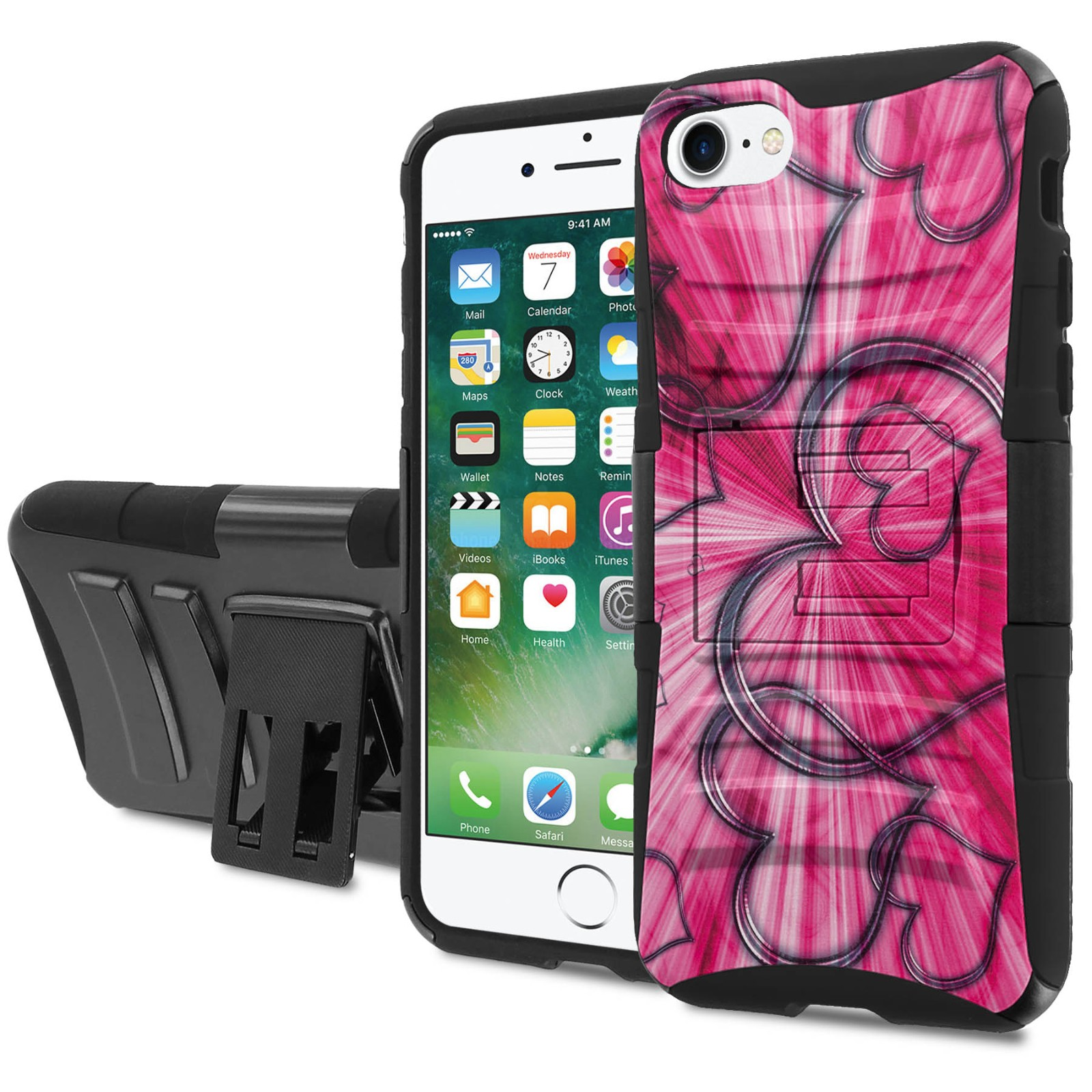 iphone 7 7s defense armor case holster kickstand. Black Bedroom Furniture Sets. Home Design Ideas