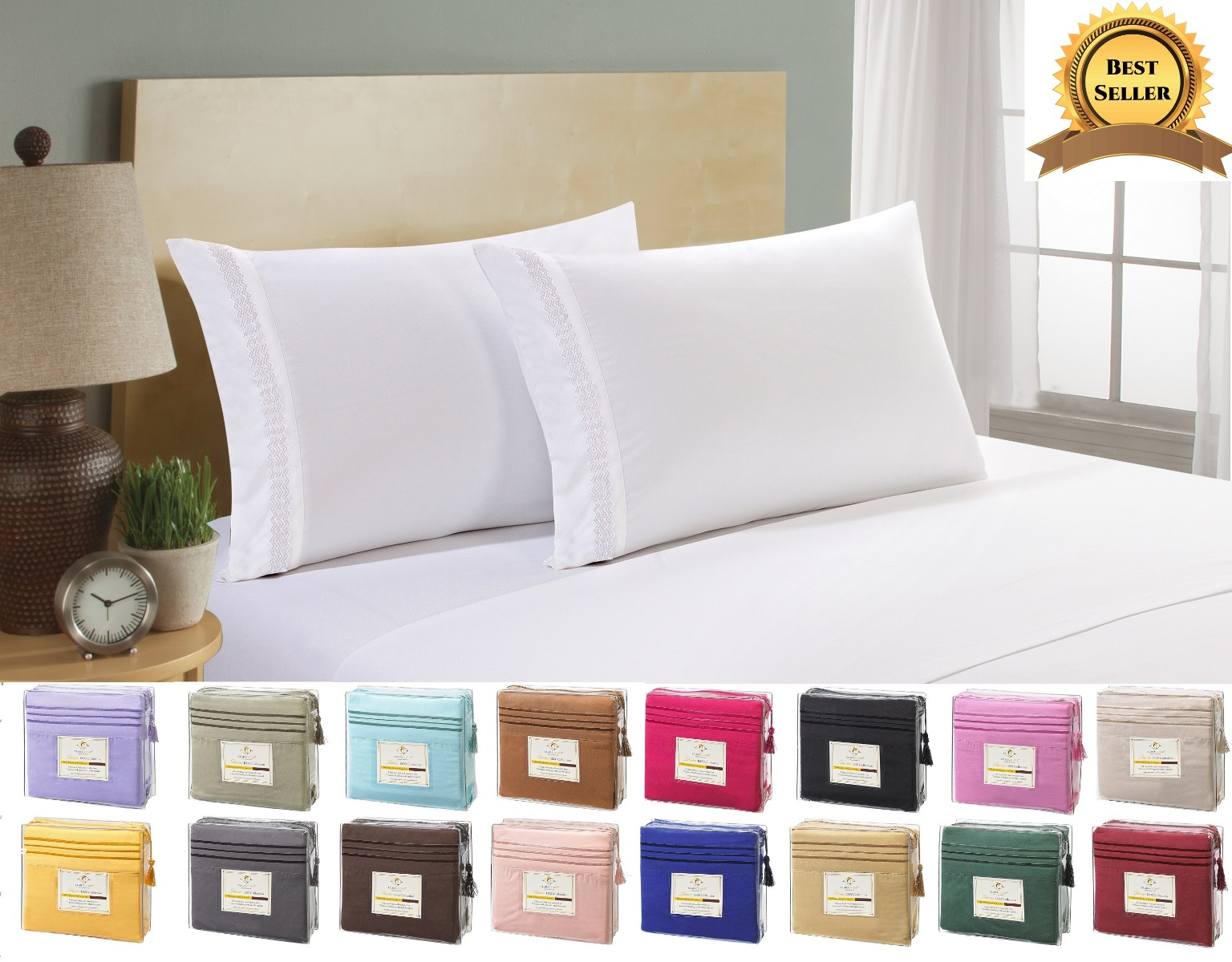 Egyptian Comfort 1800 Count 4 Piece Deep Pocket Bed Sheet Set   Twin Size