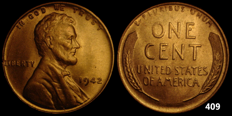 1942  LINCOLN CENT UNCIRCULATED  409