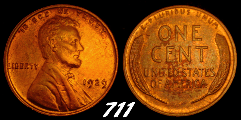 1929 UNCIRCULATED RED/BROWN LINCOLN WHEAT  CENT  711