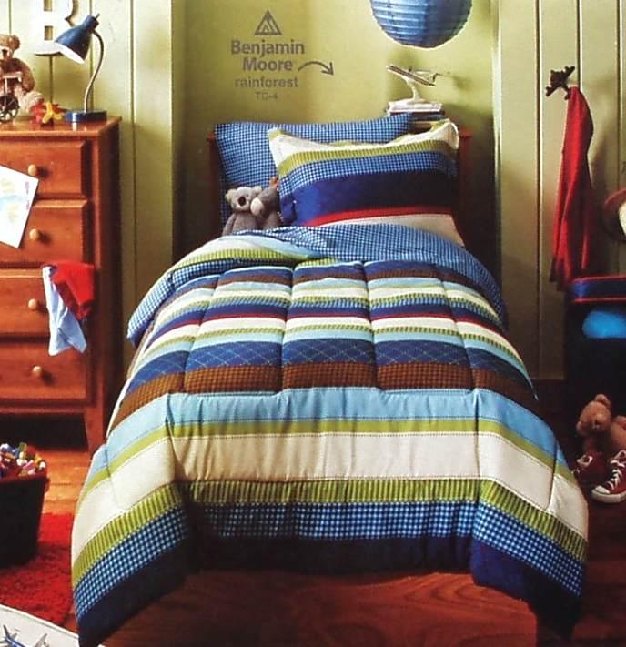 boys blue stripe twin comforter sheets 5pc bedding set new