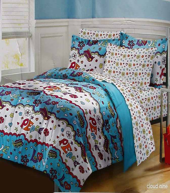 Peace and love red white blue queen comforter sheets shams - Red white and blue sheets ...