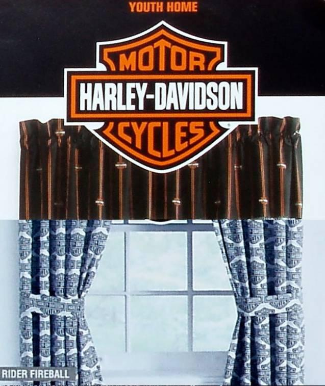 harley davidson flame rider fireball valance curtain drapes window treatment new ebay. Black Bedroom Furniture Sets. Home Design Ideas