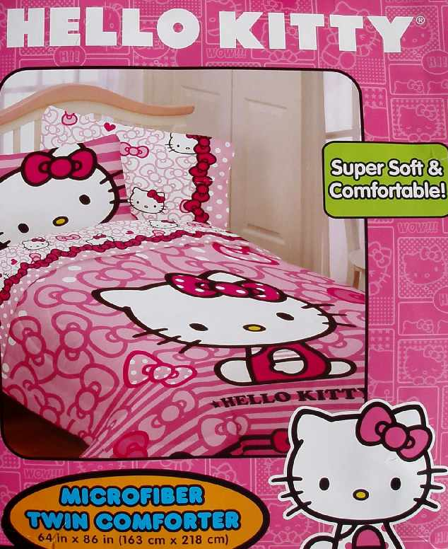 HELLO KITTY BOW TIES PINK TWIN COMFORTER SHEETS 4PC