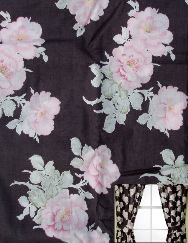 ISABELLE GRAY PINK ROSES FLORAL CURTAIN DRAPES WINDOW TREATMENT NEW