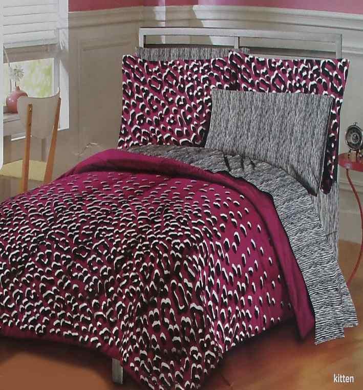 Big cats animal print plum black queen comforter sheets 7pc bedding set new ebay - Cheetah print queen comforter set ...