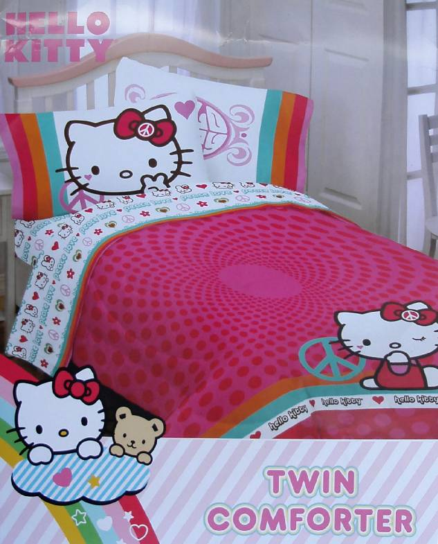 hello kitty peace twin comforter sheets 4pc bedding set