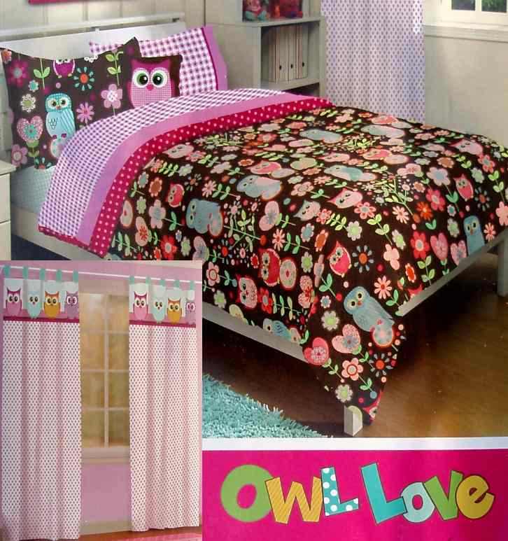 Love owls brown pink floral full comforter sheets drapes 6pc bedding