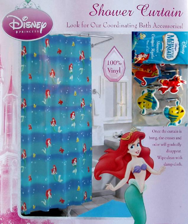 Details about little mermaid shower curtain and 12 hooks set new
