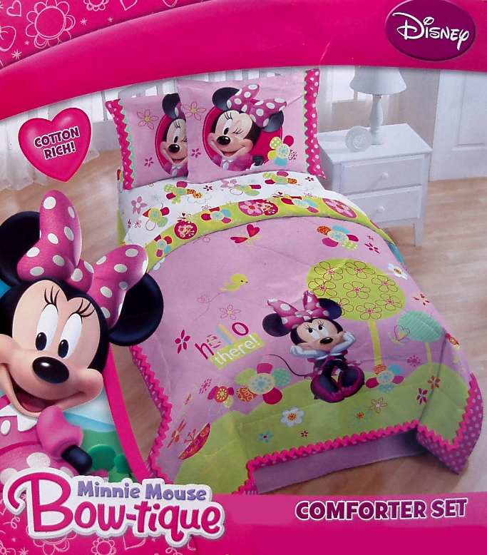 DISNEY MINNIE MOUSE BOW PINK FULL FORTER SHAMS BEDSKIRT
