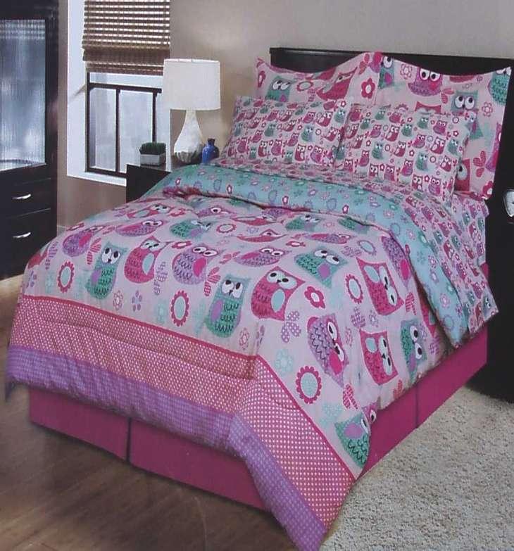 polka dot owls pink full comforter sheets shams bedskirt 8pc bedding set new ebay. Black Bedroom Furniture Sets. Home Design Ideas