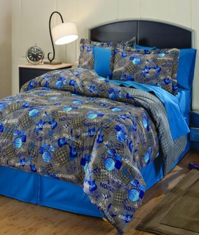 Rockstar blue gray twin comforter sheets sham bedskirt 6pc bedding new
