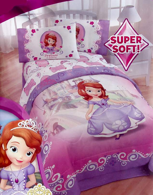 Disney sofia the first pink purple twin comforter sheets - Sofia the first bedroom ...