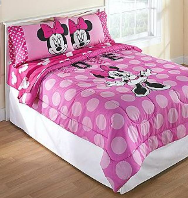 disney minnie mouse pink polka dots full comforter sheets