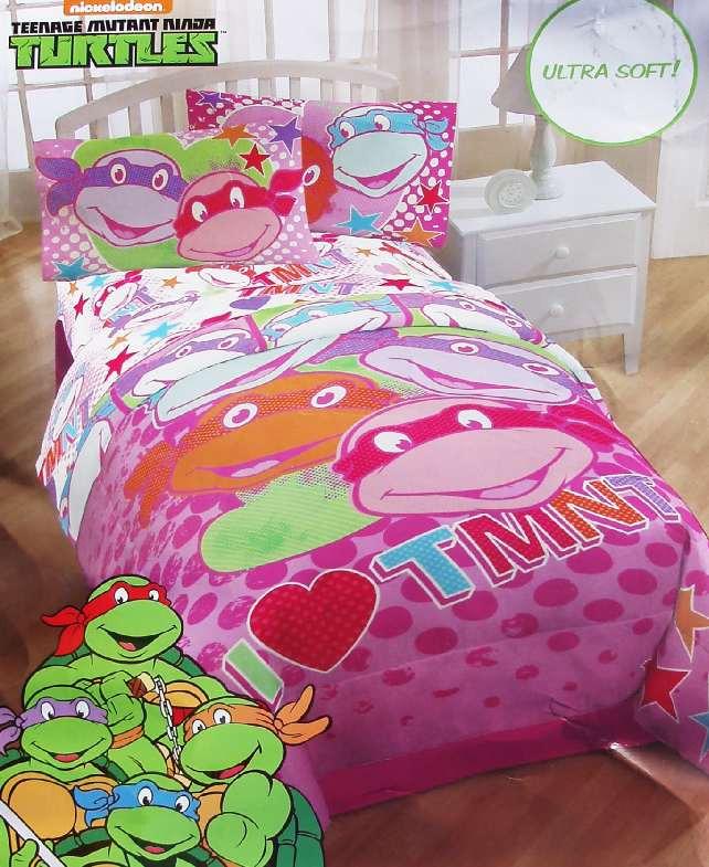 Ninja turtles pink twin comforter sheets 4pc bedding set new ebay