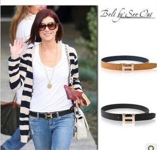 New-Fashion-Womens-H-Buckle-PU-Leather-Waist-Belt