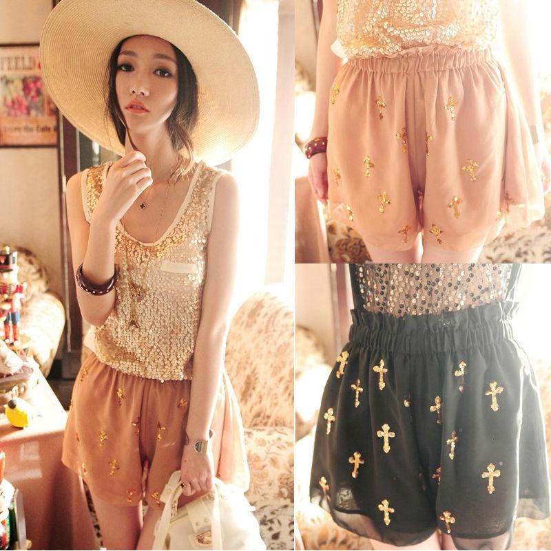 Womens-Shiny-Sequins-Cross-Pattern-Chiffon-Skirt-Divided-Skorts-Pants-Shorts