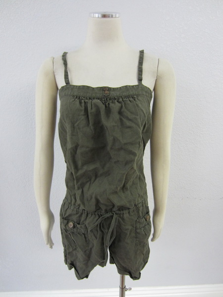 Joie Anthropologie Womens Dark Olive Green Drawstring Waist Linen