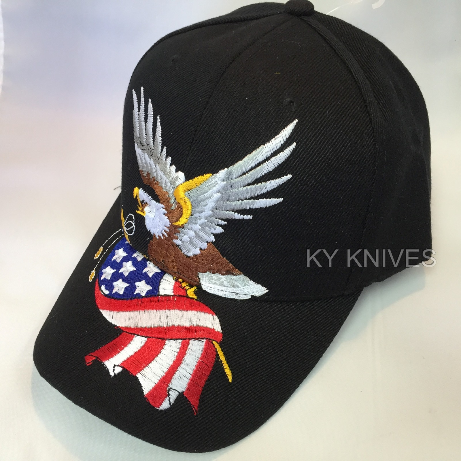 bald eagle w american flag patriotic embroidered baseball