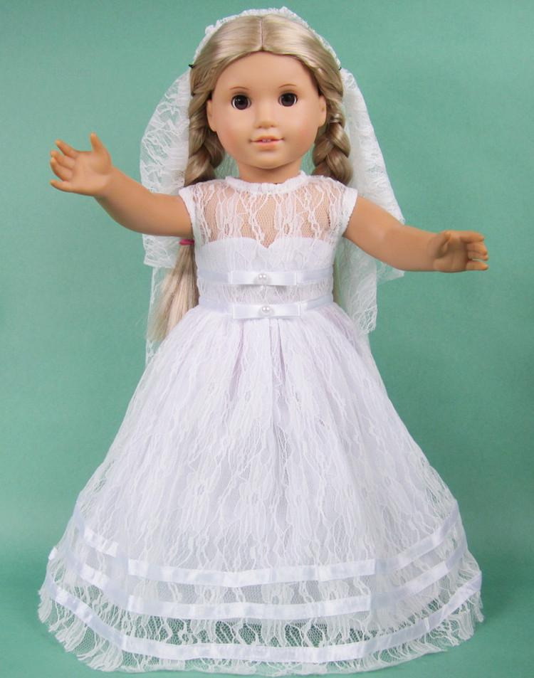 White lace wedding dress bridal gown 18 american girl for American girl wedding dress