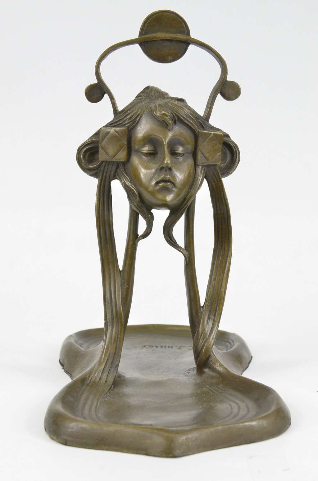 art nouveau deco jewelry tray soap bus bronze sculpture figurine statue bz ebay. Black Bedroom Furniture Sets. Home Design Ideas