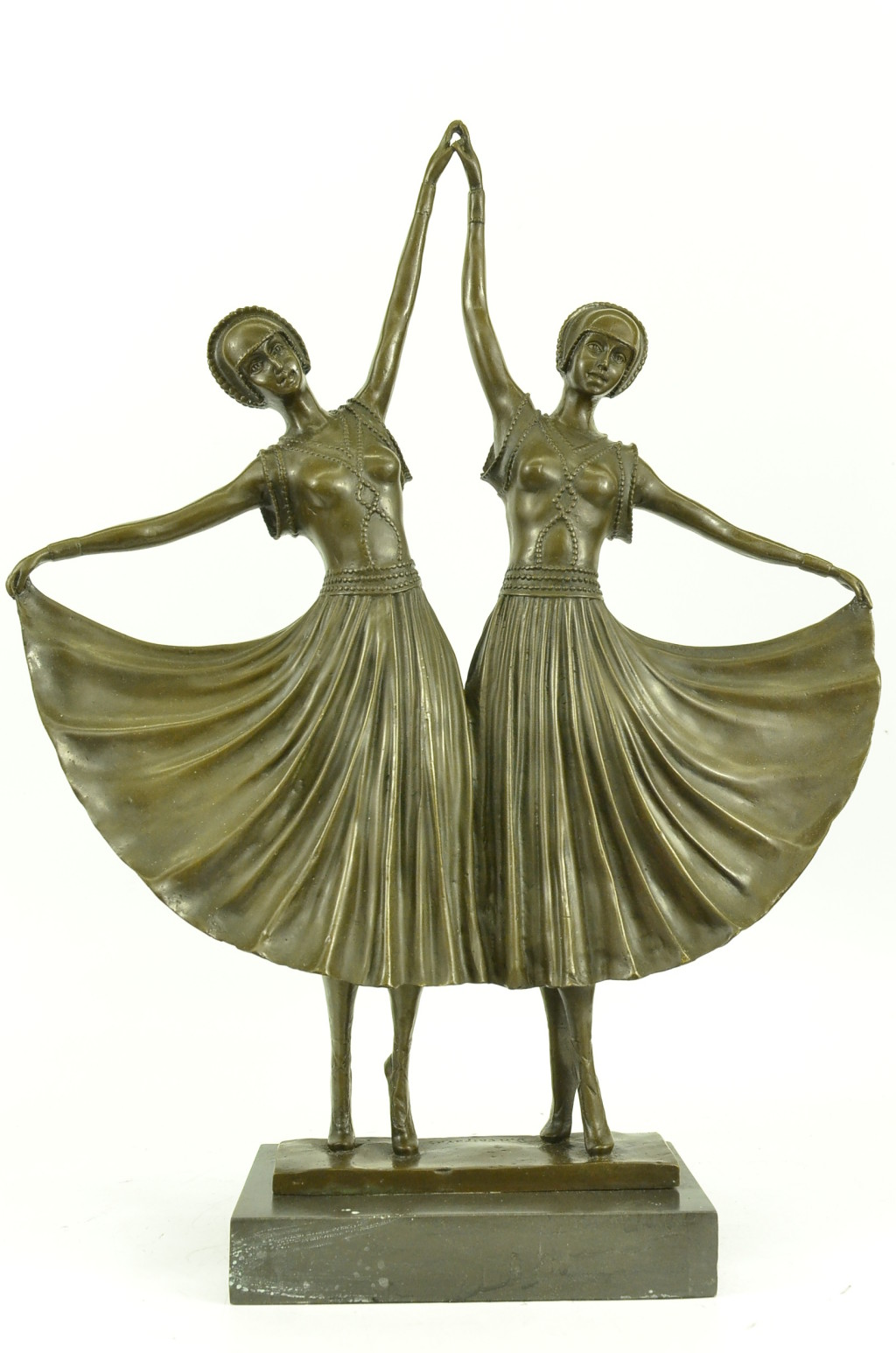 bronze sculpture signed large chiparus two russian dancer art nouveau figurine s ebay. Black Bedroom Furniture Sets. Home Design Ideas