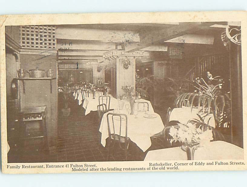 1929 postcard FULTON STREET RESTAURANT New York City NY hk5273