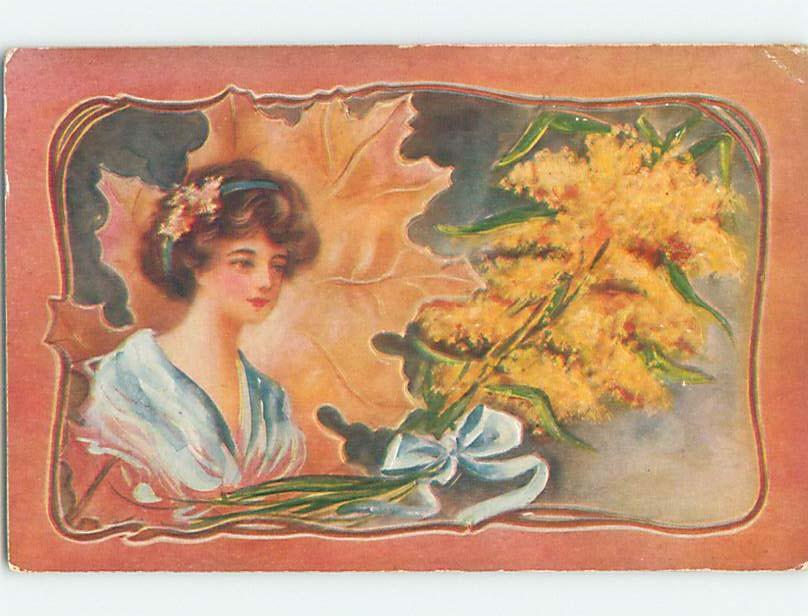 Pre linen art nouveau pretty art nouveau girl with yellow flowers pre linen art nouveau pretty art nouveau girl with yellow flowers hl4366 mightylinksfo