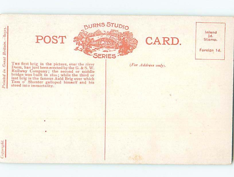 Unused Divided-Back POSTCARD FROM Ayrshire Scotland Uk HM6056