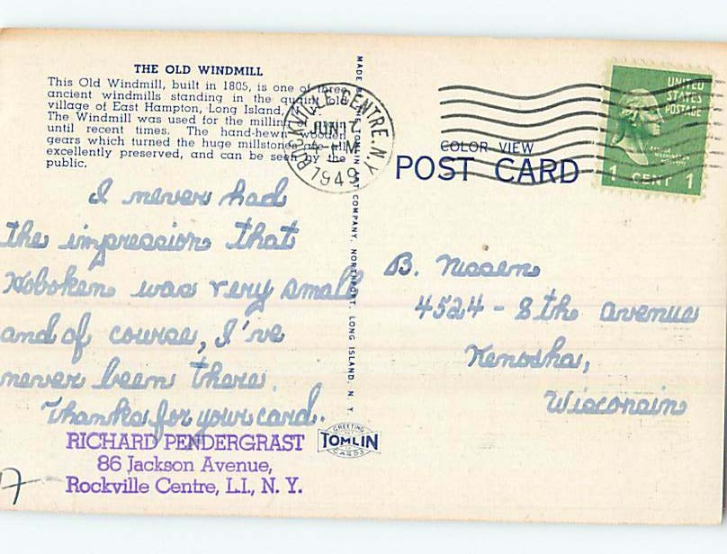 Linen POSTCARD FROM Long Island - East Hampton Long Island New York NY HM9778
