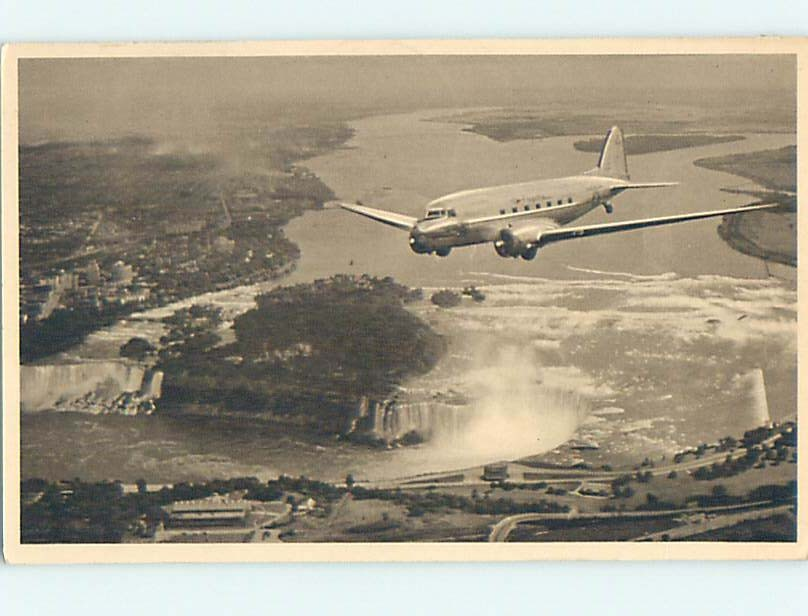 1942 card AMERICAN AIRLINES AIRPLANE OVER FALLS Niagara Falls New York NY hn5154
