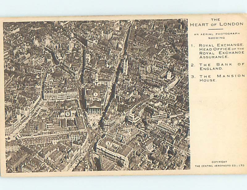 Divided-Back AERIAL VIEW WITH LABELED SITES London England Uk hn6390