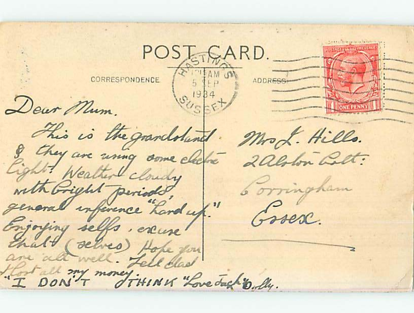 1934 postcard BANDSTAND AT NIGHT Hastings - East Sussex England Uk hn6394