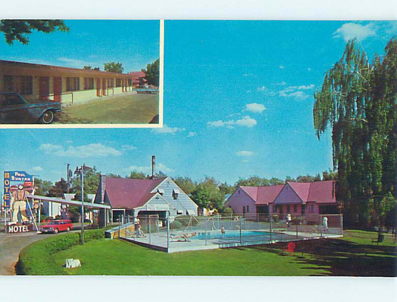 Unused Pre-1980 OLD CARS & PAUL BUNYAN MOTEL Spokane Washington WA M0587