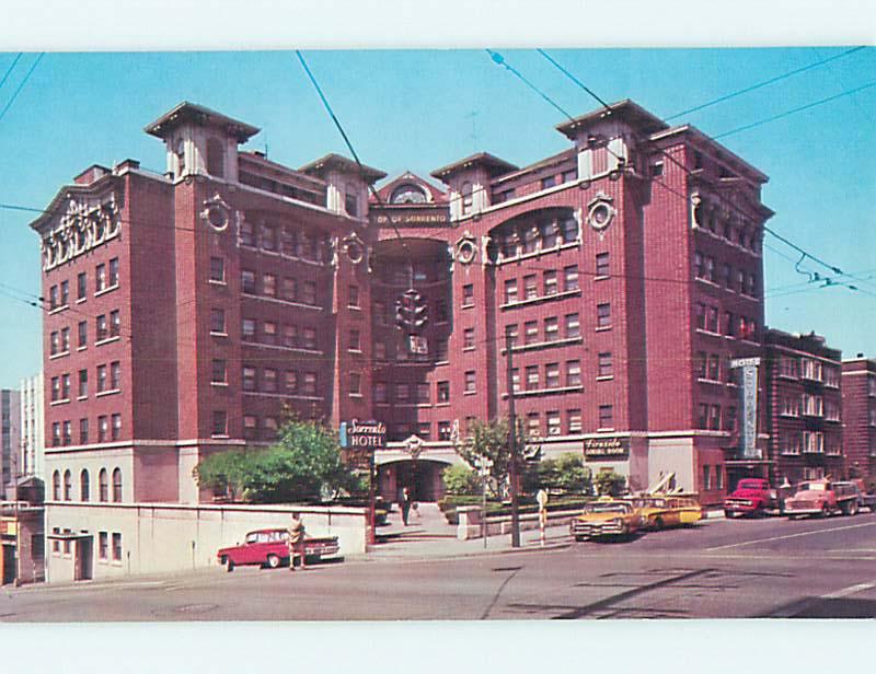 Unused Pre-1980 OLD CARS & SORRENTO HOTEL Seattle Washington WA Q5466-39