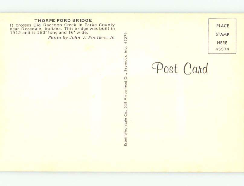 Unused-Pre-1980-COVERED-BRIDGE-Rosedale-Indiana-IN-t7815 thumbnail 2