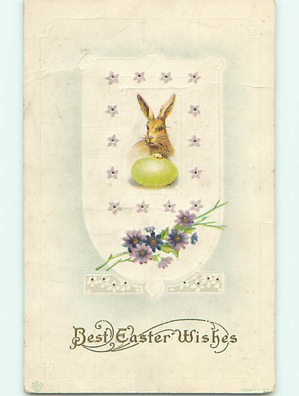Divided-Back easter CUTE LITTLE BUNNY RABBIT FACE WITH GREEN EGG v2597