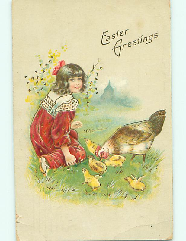 Divided-Back easter GIRL WITH BOW IN HAIR FEEDS CHICKS v2644