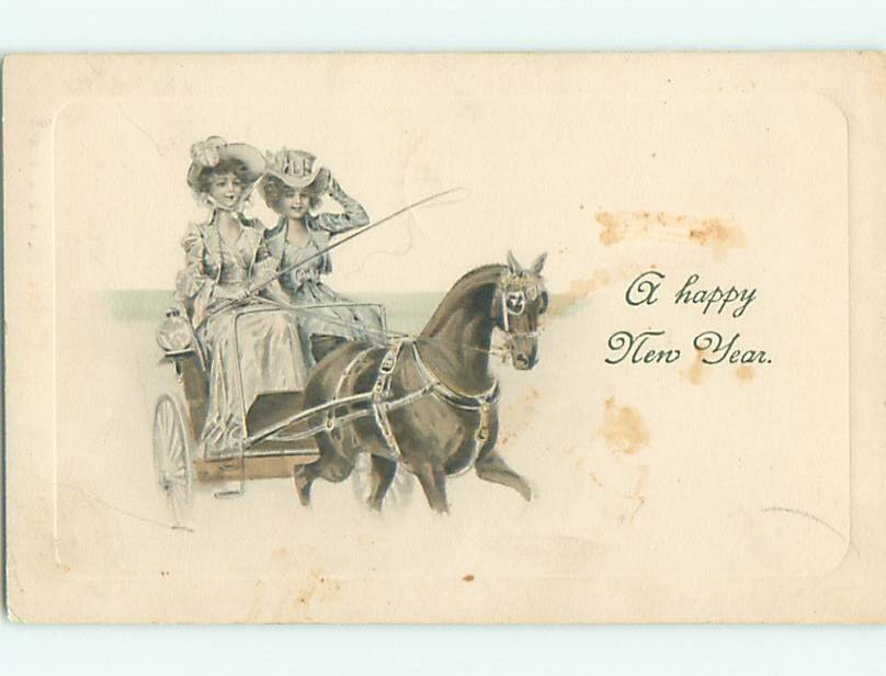 Divided-Back new years TWO PRETTY ART NOUVEAU GIRLS DRIVE CARRIAGE v4612