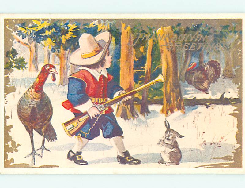 Reproduction thanksgiving BUNNY RABBIT SCARED OF TURKEY HUNTER v4627