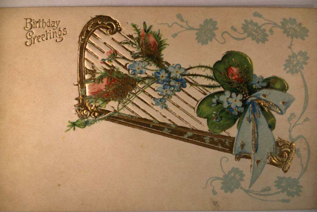circa 1910 GOLDEN HARP WITH FLOWERS & RIBBON Beautiful Postcard y0199