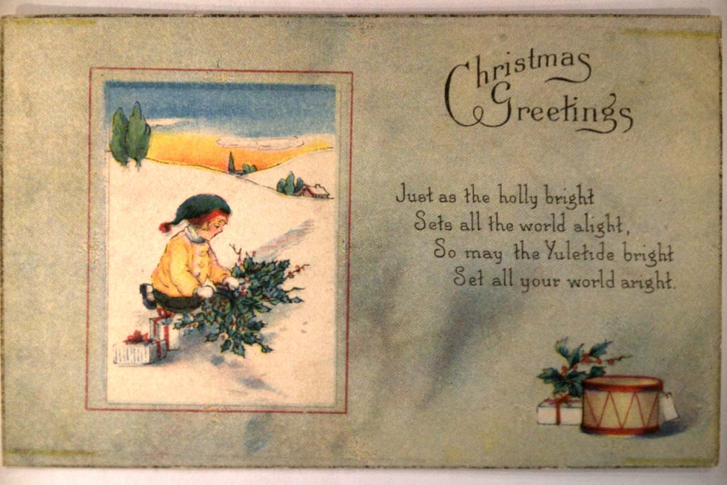 circa 1910 GIRL GETTING HOLLY BRANCHES OUTSIDE Cute Christmas Postcard y0408