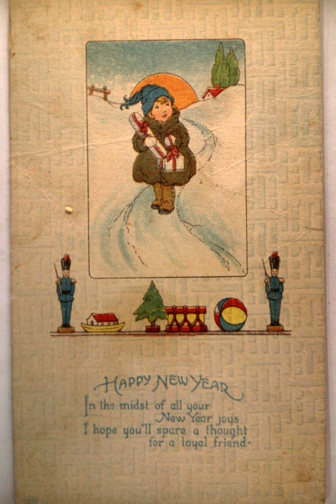 1919 Cute Girl Carrying Wrapped Gifts Nice New Years Postcard y3434
