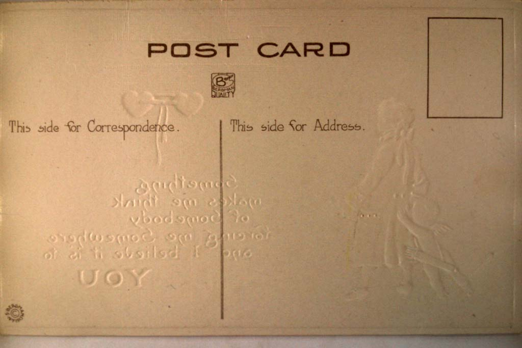 Unused pre-1920 CUPID & MAN IN COLONIAL DRESS - Valentine postcard y3478